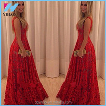 Yihao 2015 Red Lace Prom Dress Long Evening Party Formal Dress Maxi Vestidos de Formatura