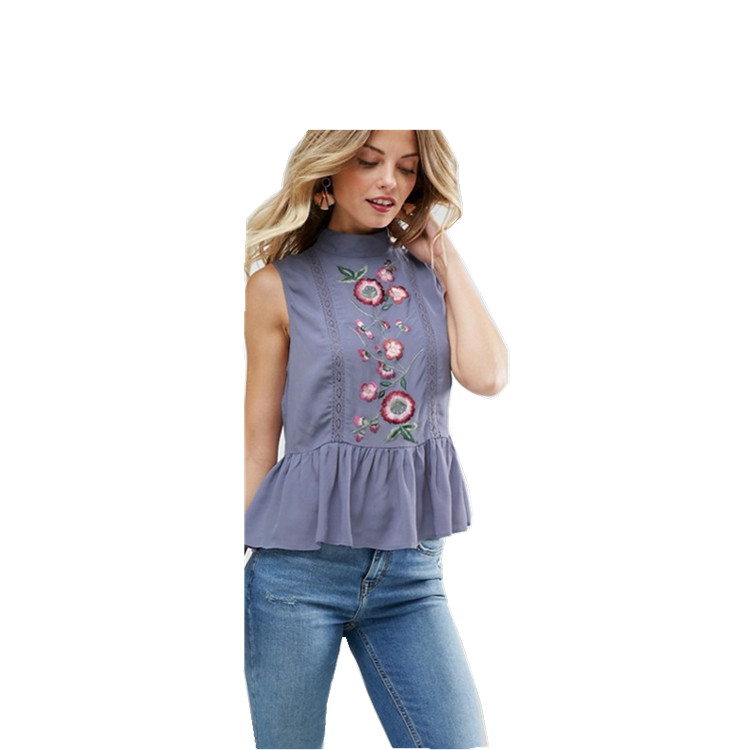 3f17bc88de893 Woman High Neck Lightweight Sleeveless Embroidered Peplum Hem  Button-keyhole Back Blouse