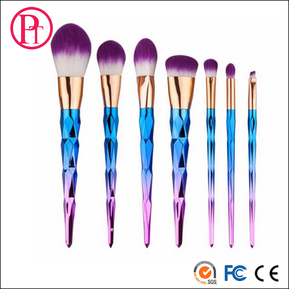 2017 New Makeup Brush with Gradient Handle Unicorn Spiral Makeup Brushes Cosmetic Eye Brush Set