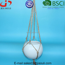 With natural rope Air pot for plants White Glazed Ceramic Hanging flower pots
