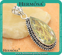 Hermosa 925 Sterling Silver Water Drop Antique Cameos Trendy Golden Rutile Chunky Solitaire Pendant GM252