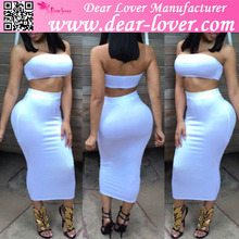 Srtipled 2 pieces latest fashion clothing Bodycon Skirt Set