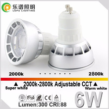0-100% dimming lens 6w cob led spotlight gu10 super warm CCT 2000-2800k hot selling