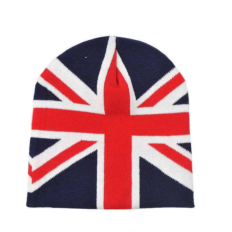 winter knitted jacquard english flag fashion style Slouch beanie hat with top ball