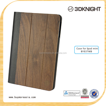 Made of high quality Wood pattern pu leather case for ipad mini