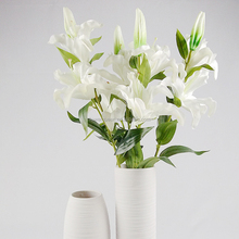 PU Artificial Lily Stems Faux Flowers High End Faux Flower Artificial Lily Bouquets For Home Decoration