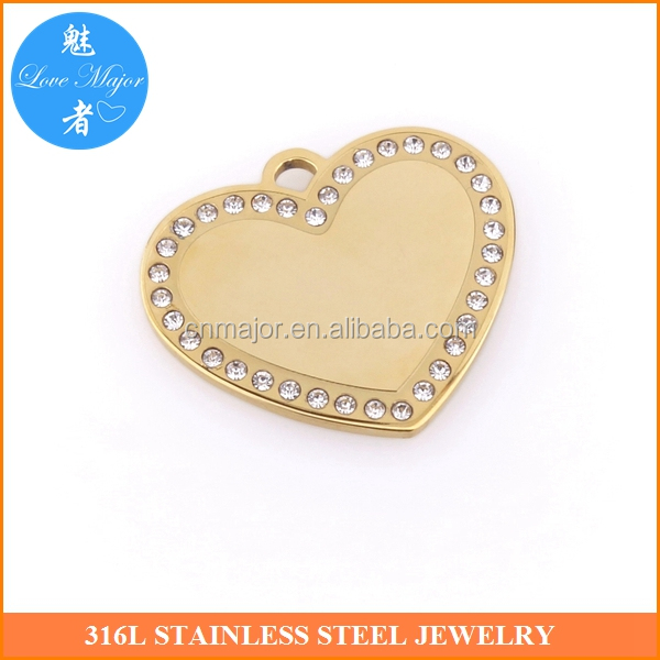 30*26mm shiny crystal stainless steel heart pendants engravable jewelry blanks