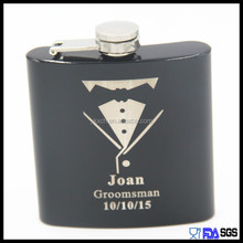 Black spray painting metal hip flask with laser logo