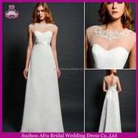 SD1672 sheer top crystal v cut back sexy chiffon wedding dress manufacturers usa