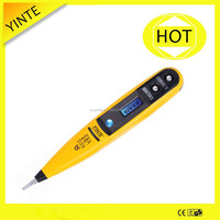 China manufacture hand tool AC.DC12-250V LCD screwdriver voltage tester,digital test pen with CE