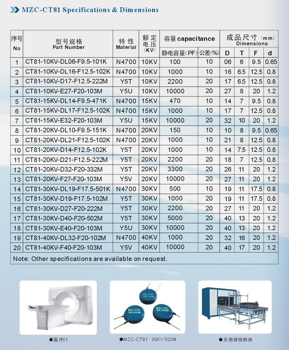 High Voltage Blue Ceramic Capacitor 101 102m 104 1kv 3kv