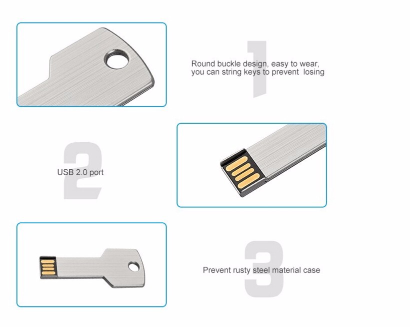 Custom Printable Flat 128Mb 3Gb Stock Memory Key Shaped Flash Drive Blank Usb Stick