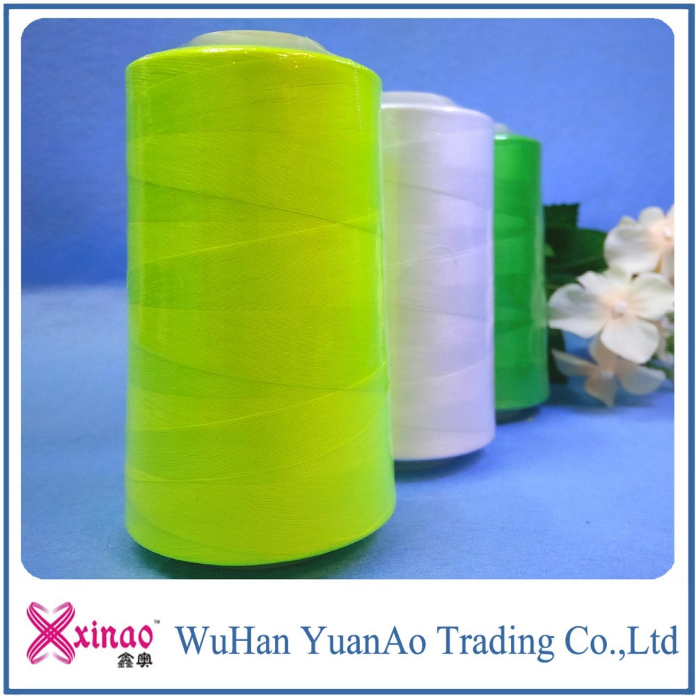 100 percent virgin color polyester spun sewing thread
