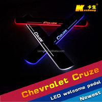Stainless steel Car LED door sill Scuff Plate / Threshold Article Welcome Pedal LED light for Chevrolet Cruze 2014-2015