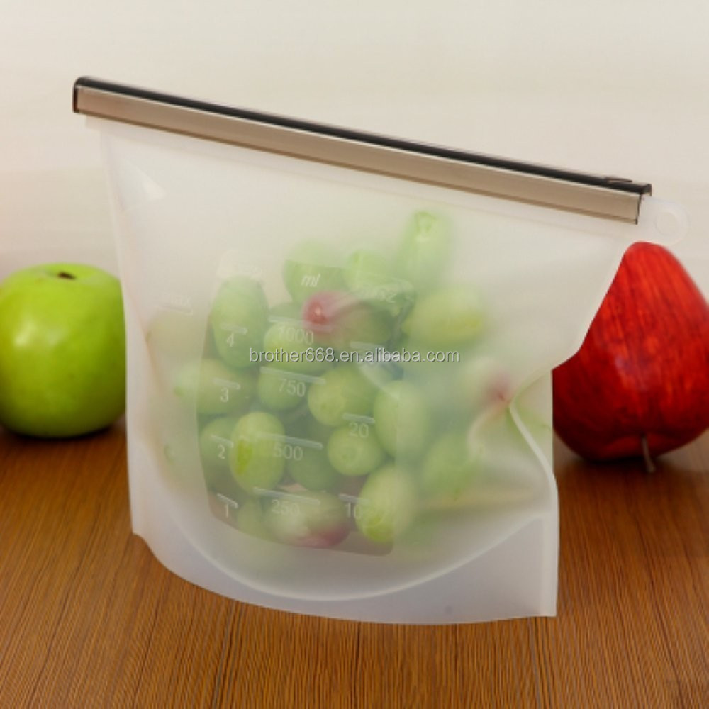 Silicone Reusable Food Safe Storage Bag Fridge Food Preservation bag