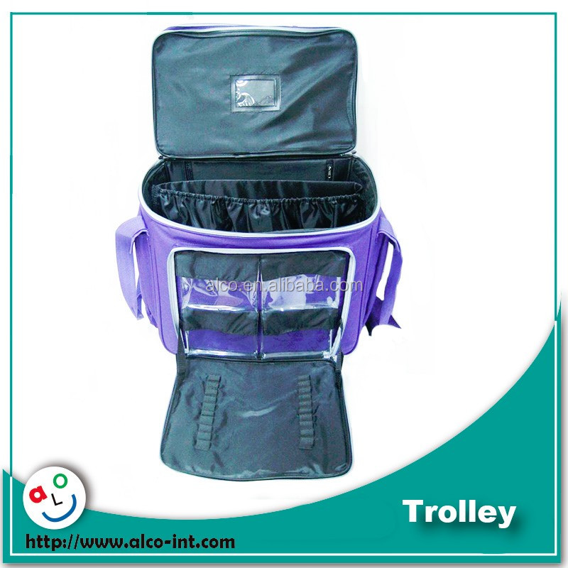 Multi pockets solid color printed mini trolley school bag