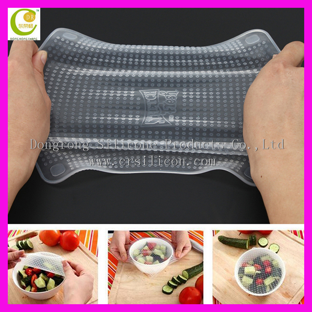 Transparent flexible LFGB food grade silicone stretch fresh cover,kitchen cling film,soft food grade silicone protective film