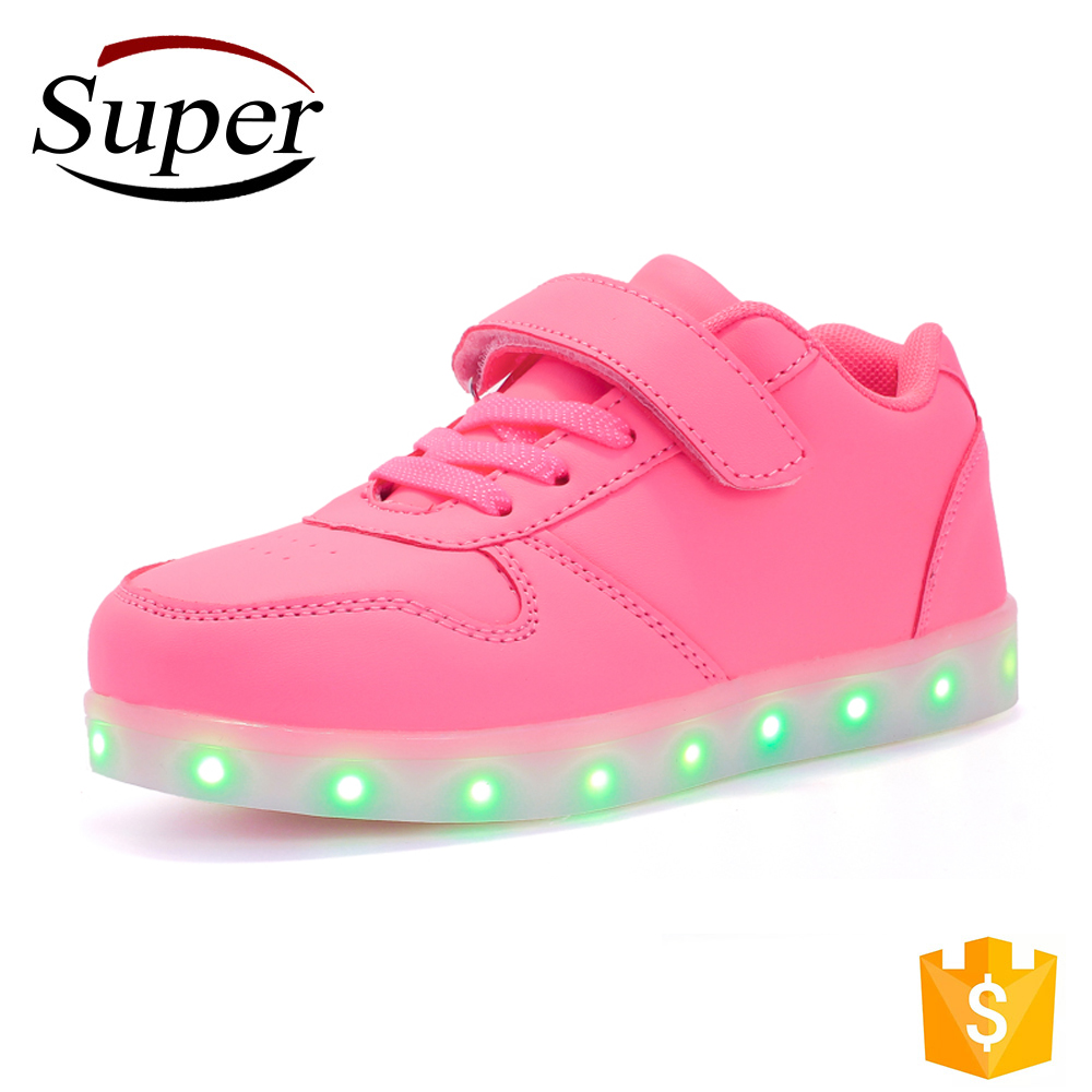 Quanzhou Children Shoe Lace-Up Black Boy Light Up Led Shoes For Kids