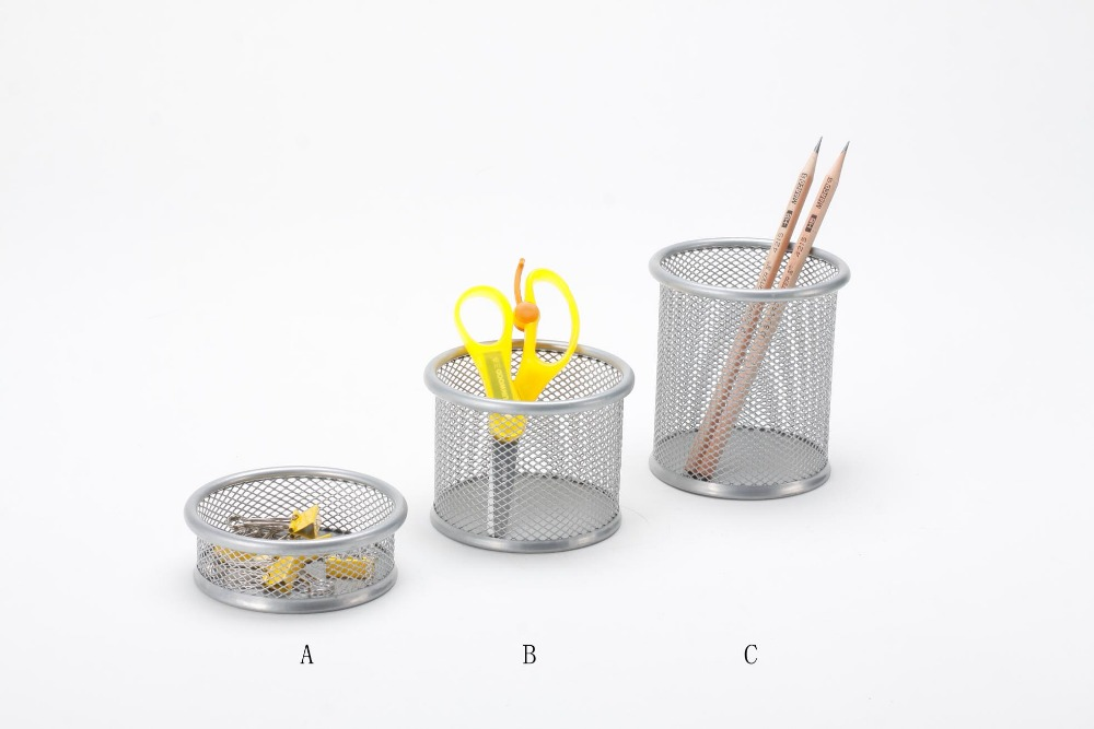 B8802 high quality office and school desktop accessories desk stationery metal mesh power coated round pencil cup organizer