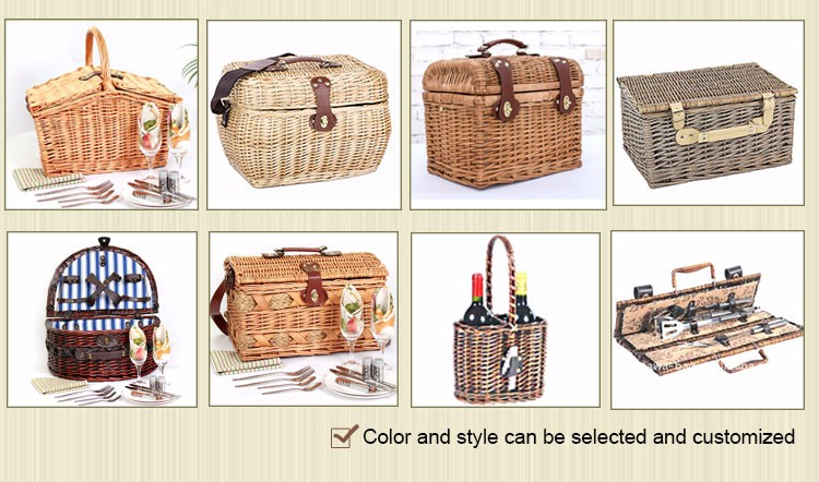 wholesale willow wine basket empty wicker picnic basket
