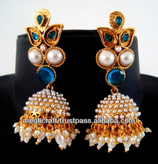 2015 Indian traditional pearl jumka earrings - kundan polki earring jewellery - one gram gold jewellery - online indian jewelry