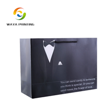 Factory retail suit package big size custom glossy paper bags