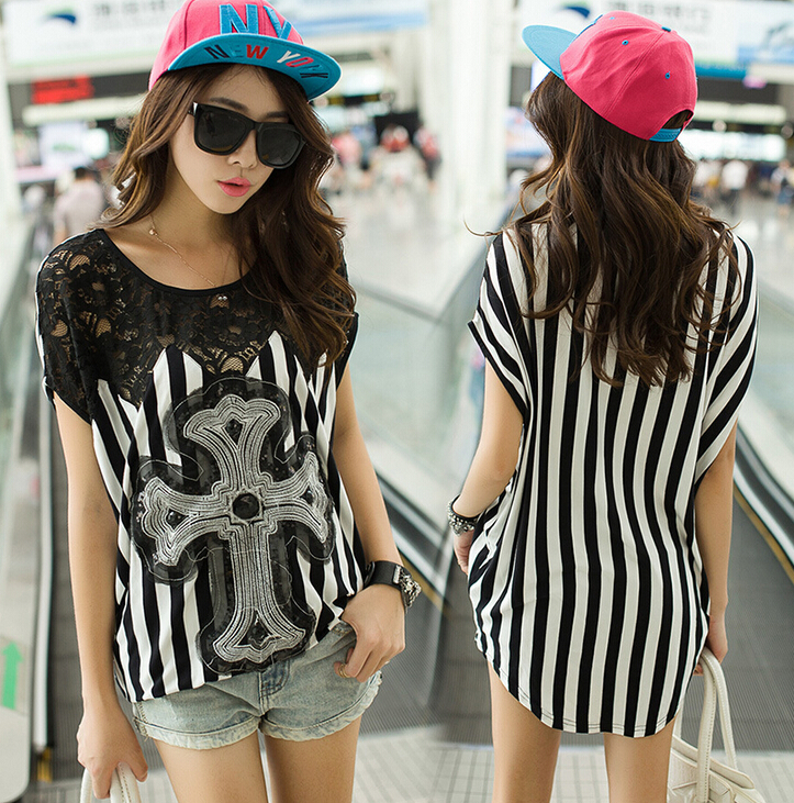 STRIPE DESIGN LADIES LACE T SHIRTS KOREAN FASHION T SHIRTS
