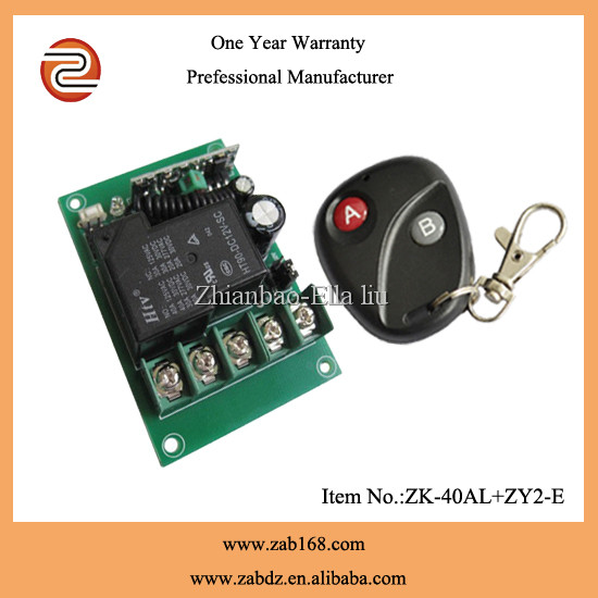 high stable sensitivity , mini size 2 keys wireless remote motor control switch for garage door, LED control (ZK-40AL+ZY2-E)