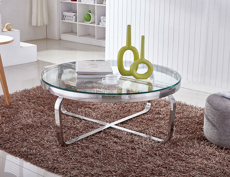 Modern glass stainless steel coffee table 1041