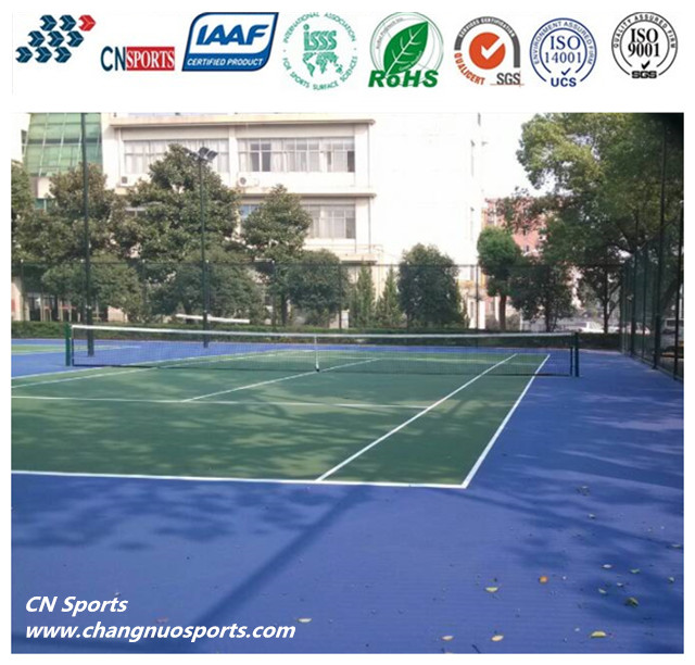 ITF Certificated Si-PU Rubber Sports Floor Coating for Tennis Court Indoor /Outdoor