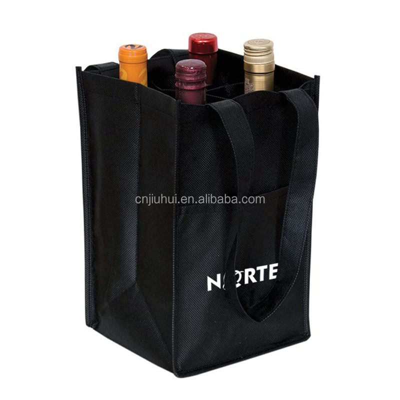 China Cheap Non Woven Wine 4 Bottle Gift Tote Bag For Wholesale