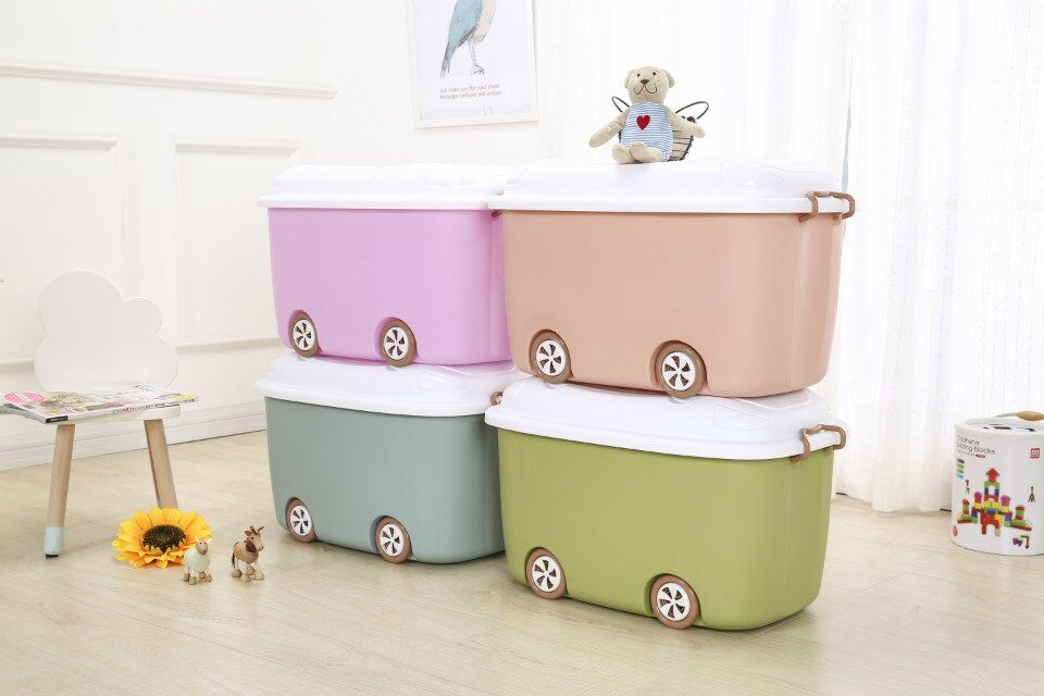 Plastic Stackable Storage Box Cute Children Toy Container with Wheels Home Sundry Container