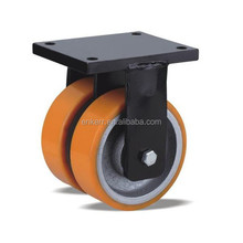 super heavy duty cast iron fixed caster with pu double wheel,load capacity to 2.0tons