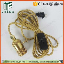 E26 lamp cord set with US plug and switch edison light socket power cord
