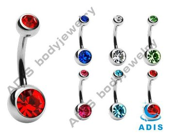 Basic hotselling style double jeweled belly navel body jewelry titanium piercing
