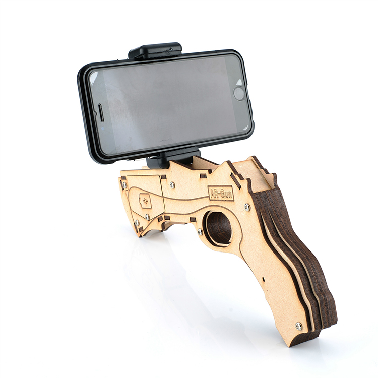 Bluetooth Phone Stand Holder Design 3D VR /AR Games Wooden Material Game Gun for Android and iOS smartphone