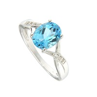 Natural Blue Topaz 7*9 Oval Ring in Silver new design and fine silver Nickle and led free.