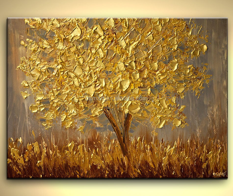 Gold Money Tree Knife Oil Painting New Year Decor 100% Pure Hand ...