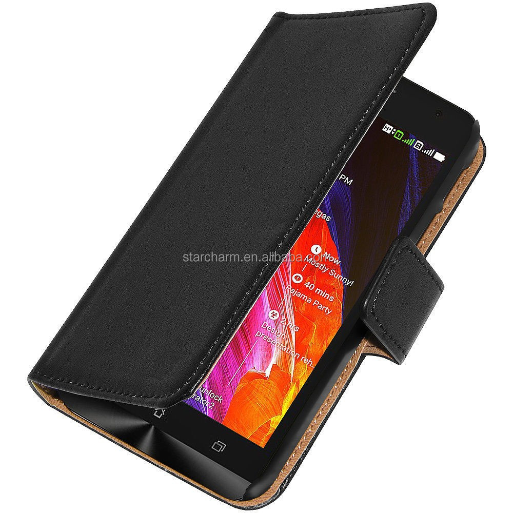 High quality scratch resistant flip leather cover for Asus ZenFone 2