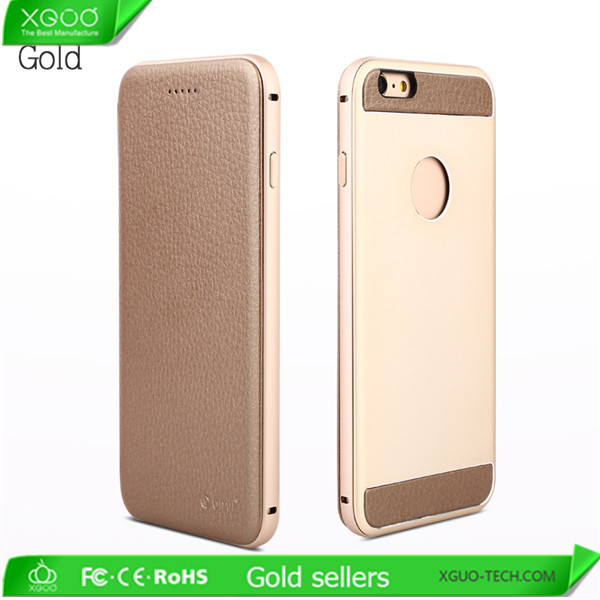 Luxury branded leather cover & aluminum flip mobile phone case for iphone 6