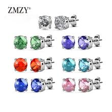 ZMZY Classic Design Colorful Rhinestone Crystal Zircon Stainless Steel Stud Earrings Jewelry For Women