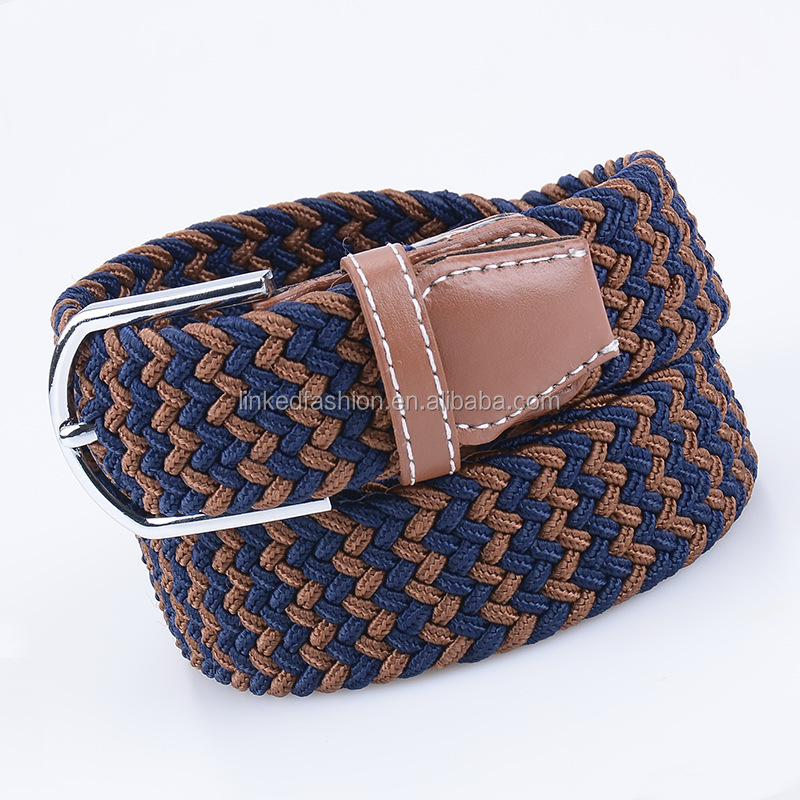 Unisex Men Stretch Braided Elastic Woven Belt with Alloy buckle