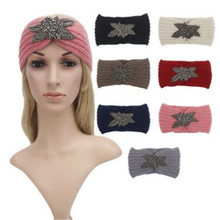 turban winter warm Women rhinestone jeweled leaves beanie wide handmade wool knit crochet hair band headband ear warmer
