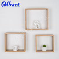 decorative wooden cube wall shelf