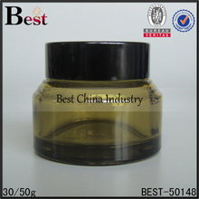 avaliable cosmetic container slanted shoulder green transparent glass cream jar with black screw cap 30g 50g