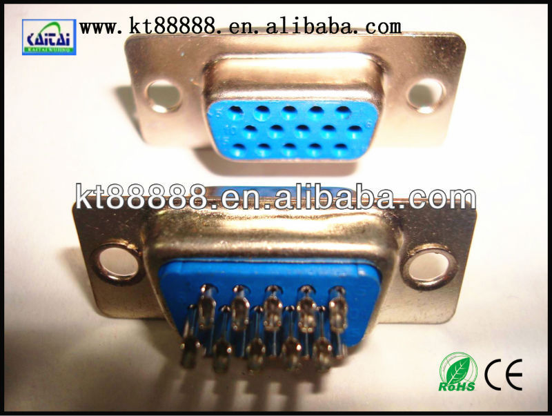 d-sub vga 15p female connector solder blue
