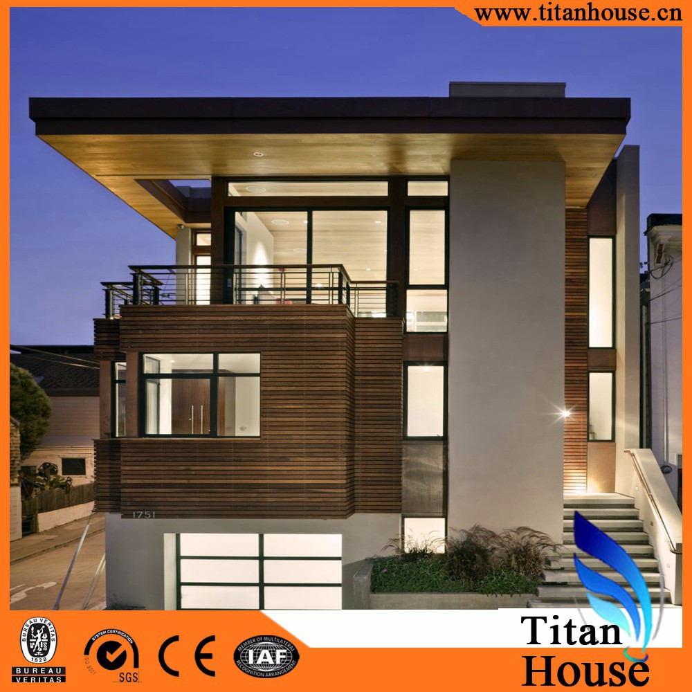 Luxury Modern Design Economic High Quality Steel Structure Flat Roof Prefab Villa Houses Made in China