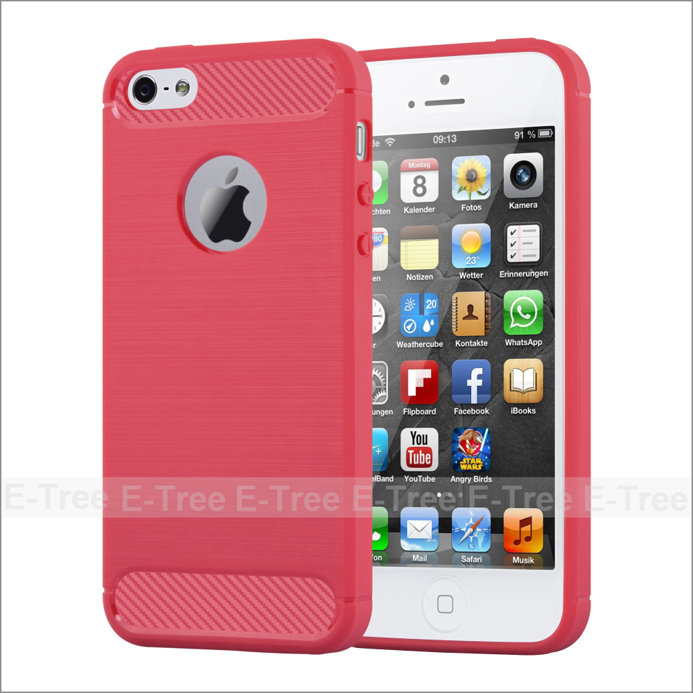 Brush Carbon Fiber Pattern Soft TPU Mobile Phone Case Back Cover For iPhone 5