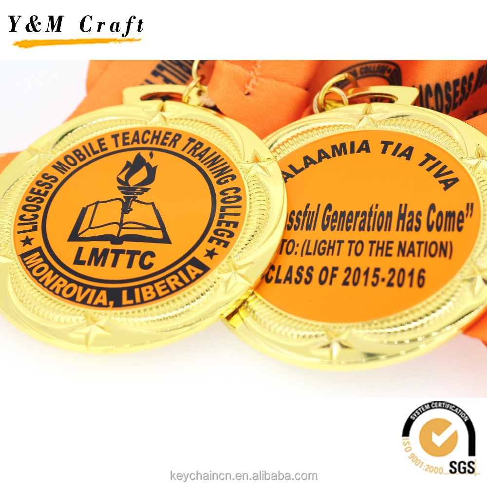 Manufacturer Custom Design Metal Award Metal Sport Medal with Ribbon