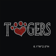 Hotfix Pawprint with Letter Tiger Rhinestone Motif Iron On Transfer